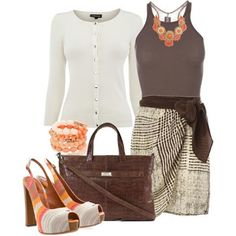 wrap skirt, tank, chunky necklace and just the right belt, forget the heesl, add sandals and less boxy purse