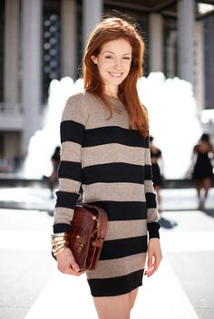 Stella McCartney Striped Sweater Dress, worn by fashion journalist/writer Stephanie Lacava at NY Fashion Week 2010.