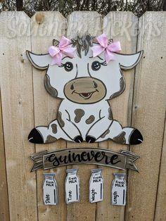 Hospital Door Signs, Hospital Door Hangers, Baby Door Hangers, Painting Mdf Board, Cow House, Baby Cows, Rustic Baby, Painted Doors, Just For You