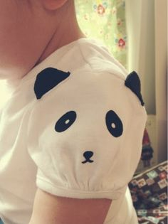 I'm not that into pandas, and neither is MiniDork. My kidlet would love a kitten-sleeve or puppy-sleeve shirt! Flocked Heat Transfer Panda Sleeve by Jennifer of Parrishplatz Fashion Kids, Diy Fashion, Diy Clothing, Sewing Clothes, Sewing For Kids, Baby Sewing, Little Girl Dresses, Kids Wear, Baby Dress