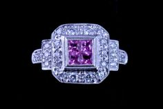 .54 ct. TW Pink Sapphires, .42 TW near colorless SI Diamonds, 14K White Gold