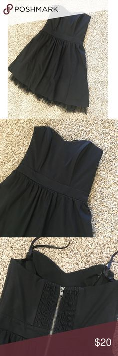 "Bustier Top Dress Great holiday party dress! Worn once, in perfect condition! Such a cute dress, just too tight on me. Fits S-XS. Cute zip-up detail in back, boning in bustier top which is great for going braless in this dress! Full tulle lined skirt. I'm 5'4"" for reference. Dresses"