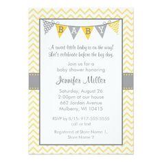 Yellow Chevron Baby Shower Invitations