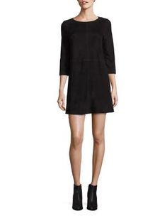 ALICE AND OLIVIA Tamar Suede A-Line Dress. #aliceandolivia #cloth #dress