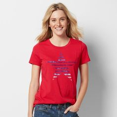 Women's Patriotic Graphic Crewneck Tee, Size:
