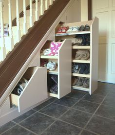 18 Useful Designs for Your Free Under Stair Storage Take advantage of unused space under the basement stairs with these inexpensive (and DIY! storage under stairs 10 Under Stair Storage Ideas that Make Your House Look Stunning Staircase Storage, Diy Storage Shelves, Attic Storage, Bedroom Storage, Storage Ideas, Storage Units, Under Stair Storage, Storage Solutions, Extra Storage