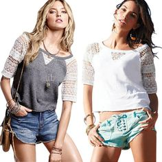 Encontre mais Camisetas Informações sobre Hot sale 2015 moda europa e américa mulheres camisa verão de manga curta renda patchwork oco out casual mulheres t shirt 2826, de alta qualidade Camisetas de Brazil Moda em Aliexpress.com