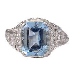 1930's Aquamarine and Diamond Platinum Ring