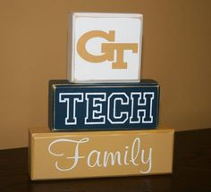 Hand Painted GT Georgia Tech Family Blocks by KRCustomWoodcrafts, $24.00