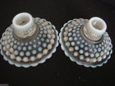 PR Moonstone Opalescent Anchor Hocking Single Candle Holders Excellent Condition
