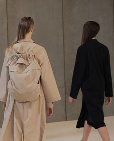 Cotton coat, backpack, crème, Black