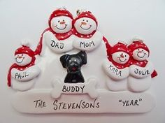 Personalized Snow Couple Family of 5 Ornament with Black Dog