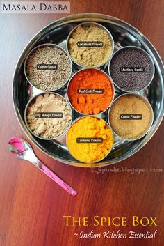 Spice-Box ('Masala Dabba') with Spices - The Indian Kitchen EssentialYou can find indian spices and more on our website.Spice-Box ('Masala Dabba') with Spices -. Masala Powder Recipe, Masala Recipe, Homemade Spices, Homemade Seasonings, Indian Spice Box, Tandori Chicken, Comida India, Spice Tins, Indian Kitchen