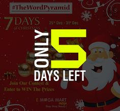 Hurry up!!! Only 5 days left. #TheWordPyramid Contest Alert🚨 Stand a chance to win exciting prizes...😍😍😍 😇Visit our pages on Facebook, Instagram, and Twitter now! 💙All the best guys and invite your friends to participate.👍(To participate in contest-click on pic)😇#ContestAlert #ContestIndia #ContestAlertIndia #WIN #christmasweek #christmastime #christmascontest #contest #contests #contestday  #7daysofchristmas #onlinecontest #fun #wordgame #wordgames #gameofwords #fungame…
