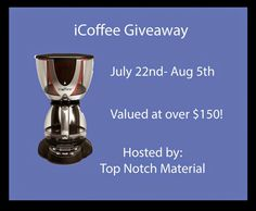 iCoffee Coffee Maker Giveaway (ends 8/5)