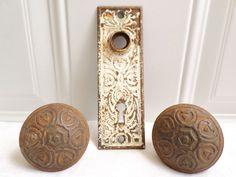 Antique Victorian Pair Of Metal Door Knobs Keyhole Backplate Hardware Rustic! in Door Knobs & Handles   eBay