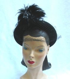 1940's Vintage Black Felt Hat with Coq by MyVintageHatShop on Etsy, $73.00