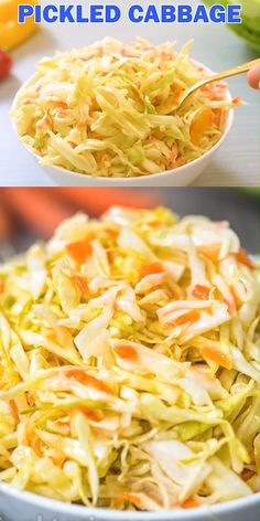 This Easy Pickled Cabbage is crunchy, tangy, sweet, and seriously addicting. Its easy to make and ready to eat in about 12 hours. Cooktoria for more deliciousness! Fermentation Recipes, Canning Recipes, Canning Tips, Vegetable Recipes, Vegetarian Recipes, Healthy Recipes, Pickled Vegetables Recipe, Pickled Cabbage, Pickled Red Onions