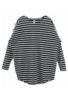 Black Striped Round Neck Bat Sleeve Cotton T-Shirt $27