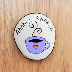 Purple Coffee Cup Hand Painted Garden Stone for the Coffee Lover by LittleGardenGems on Etsy Painted Rocks Craft, Hand Painted Rocks, Rock Painting Ideas Easy, Rock Painting Designs, Rock Kunst, Purple Hands, Coffee Painting, Henna Designs, Tattoo Designs