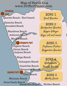 A detailed map of North Goa Beaches and Beyond as published in the most detailed guide to North Goa on the internet #Goa #IncredibleIndia