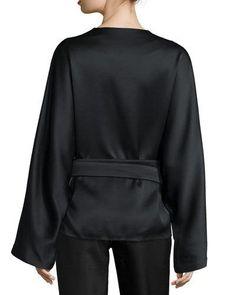 B30QP THE ROW Haki Satin Kimono-Sleeve Top, Black