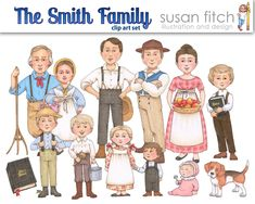 The Joseph Smith Family clip art set   Etsy Lds Primary Songs, Primary Music, Book Of Mormon Scriptures, Job Chart, Joseph Smith History, Paper Dolls Printable, Singing Time, Church Activities, Cute Clipart