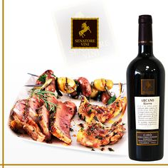 Barbecue and a bottle of Arcano Riserva wine. #wine #food #madeintaly