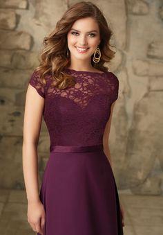 Las Uvas de Color púrpura Una Línea de Piso-longitud de Manga Corta de Gasa v-back Vestido de Dama Por Encargo Adulto Fiesta de Bodas vestido