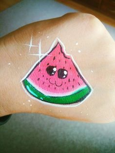 Watermelon Face, Facial, Minecraft Birthday Party, Girl Body, Body Painting, Glitter, Hand Painted, Children, Cute