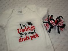 Baby Girl Football Bodysuit and Hair Bow  by grinsandgigglesbaby1, $25.00