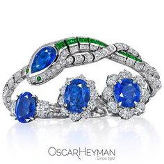 First made in the 1920s, our Sapphire & Emerald Snake Bracelet has returned (and appears is hungry for Sapphire Rings)!