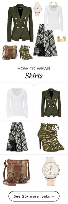 """""""LOVE THE SKIRT FOR FALL"""" by bettyboopberry on Polyvore featuring Balmain, Alexander McQueen, Majestic, Michael Kors, Realtree, Bisjoux and H&M"""