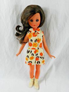 "Vintage 1965 15"" Vanessa Italocremona Doll 60's Outfit Blue Sleepy Eyes Brown Hr #ItaloCremona #DollswithClothingAccessories"