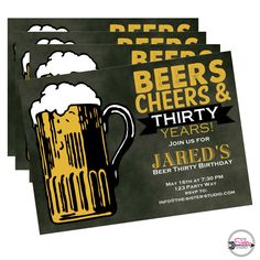 Dirty Thirty Birthday Invitation, Beer Thirty, Funny Birthday Invite, Birthday Invite for him, Thirty Birthday Ideas, Beers and Cheers
