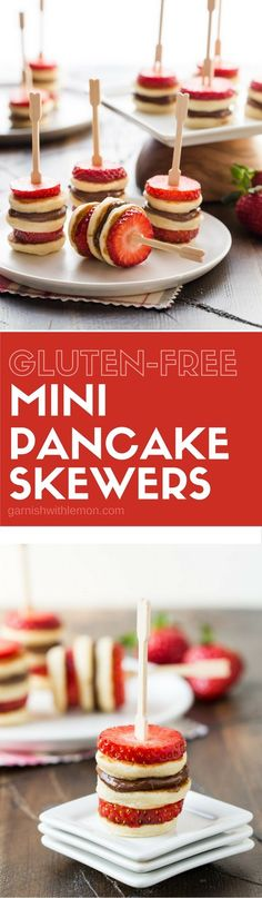 Having guests for brunch? Add these Gluten-Free Mini Pancake Skewers to the menu! Easy to make ahead of time, too.