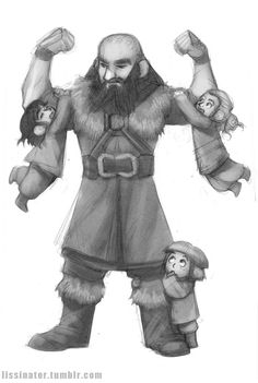 Awwwwww! I love baby dwarves---------- probably kili fili and ori at the bottom ( hey are the youngest drwaves