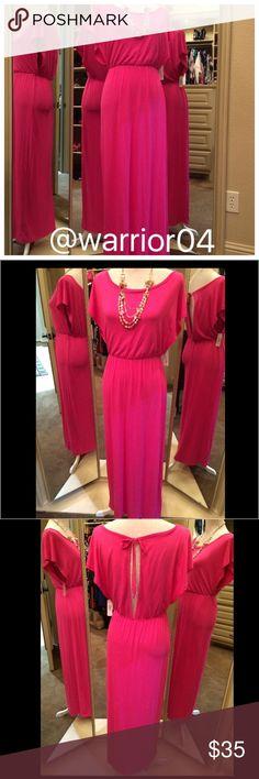 "🎉HP 7/11/16 Hot Pink Maxi Dress NWT Charming Charlie Hot Pink Maxi Dress NWT measures 54.5"" in length Charming Charlie Dresses Maxi"