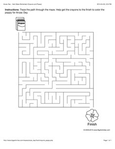 Anzac Day maze worksheet with crayons and a poppy. 4 levels of difficulty. Maze changes each time you visit