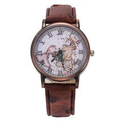 Amazon.com: FEIFAN Women's World Map Pattern PU Leather Strap Wristwatch (Brown): Watches