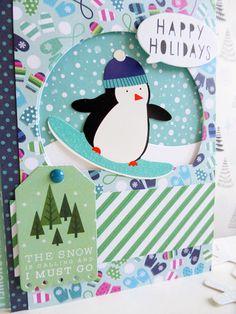 Pebbles - Winter Wonderland - Snowboarding Penguin card - detail