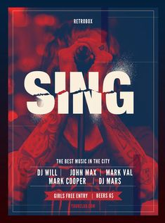 Sing Flyer Poster Template PSD Flyer Template, Poster Templates, Flyer And Poster Design, Good Music, Singing