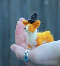Extra Tiny Felted Corgi Figurine with Witch's Hat. $40.00, via Etsy.