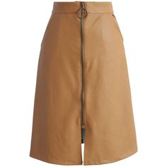 Chicwish Font Zip Fun Faux Leather Skirt in Tan ($42) ❤ liked on Polyvore featuring skirts, brown, fake leather skirt, long brown skirt, textured skirt, imitation leather skirt and tan faux leather skirt