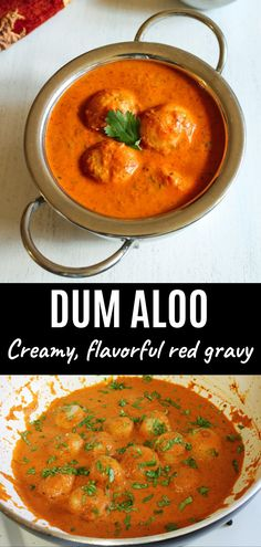 """""""Punjabi Dum aloo recipe with step by step photos"""" - Making restaurant style dum aloo gravy at home is very easy. This is creamy, rich and loaded with flavors. Indian Paneer Recipes, Lunch Recipes Indian, Aloo Recipes, North Indian Recipes, Chutney Recipes, Veg Recipes, Curry Recipes, Vegetarian Recipes, Cooking Recipes"""