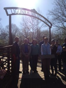 """The bridge was christened """"The Rose Stepnick Crossing"""" in honor of the project leader. """"This bridge would not be here with Rose Stepnick,"""" said Tim Komar. #ligoniervalleytrail  (Photo by Jennifer Sopko)"""