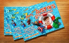 http://thepodomoro.com/collections/birthday-invitation/products/lego-superhero-pool-party-birthday-party-invitation-kids