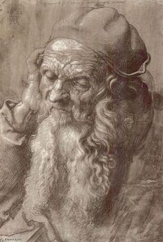 'homme `aged` 93 (brosse & encre sur papier)', brosse de Albrecht Durer (1471-1528, Germany)