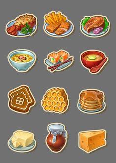 ArtStation - Icons for Township, Playrix, Tetyana Zhuravska Prop Design, Game Design, Cute Food, I Love Food, Food Stickers, Food Icons, Game Item, Food Drawing, Cooking Games