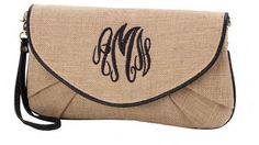 Burlap Clutch Black Trim
